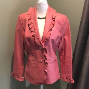 Terry Lewis Pink Ruffle Collar Leather Jacket